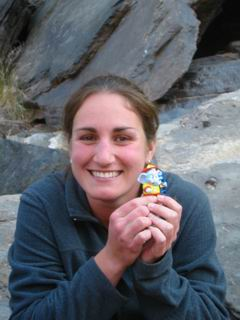 Jenny with her beautiful smile.  She is the only girl doing the whole trip.  What she's holding will bring her good luck on the river (there is a word for that, but I don't remember).