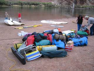 A pile of our personal gear on the rigging beach