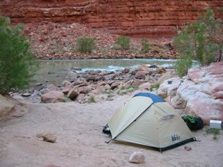 Our tent by the river.  At night, I can hear the river sing.