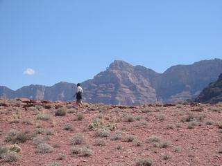 That is Ed hiking on a ridge line.  Allen captured this moment with my camera.