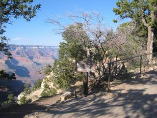 I pop up at the South Rim here -- the trailhead of Bright Angel Trail.